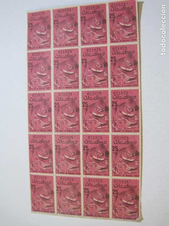 Lotería Nacional: ALADINO-HOJAS COMPLETAS DE CUPONES PARA SORTEO-1958 1959-50,25,10, 5 PTAS-VER FOTOS-(V-19.790) - Foto 7 - 202975101