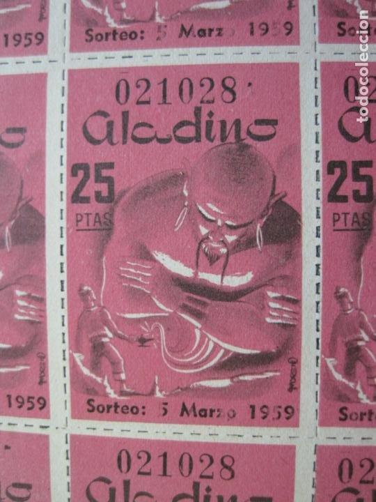 Lotería Nacional: ALADINO-HOJAS COMPLETAS DE CUPONES PARA SORTEO-1958 1959-50,25,10, 5 PTAS-VER FOTOS-(V-19.790) - Foto 8 - 202975101