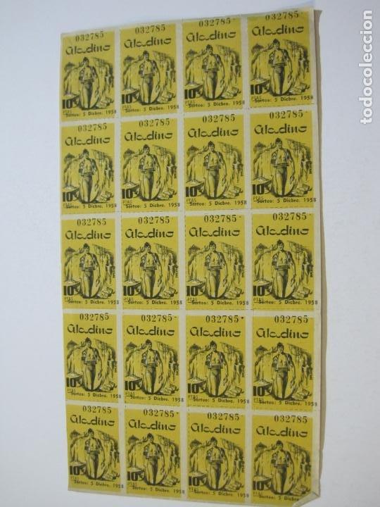 Lotería Nacional: ALADINO-HOJAS COMPLETAS DE CUPONES PARA SORTEO-1958 1959-50,25,10, 5 PTAS-VER FOTOS-(V-19.790) - Foto 11 - 202975101