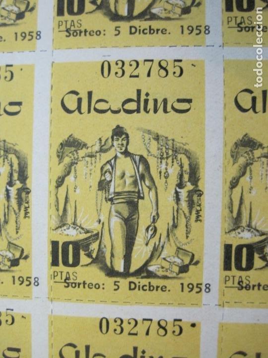 Lotería Nacional: ALADINO-HOJAS COMPLETAS DE CUPONES PARA SORTEO-1958 1959-50,25,10, 5 PTAS-VER FOTOS-(V-19.790) - Foto 12 - 202975101