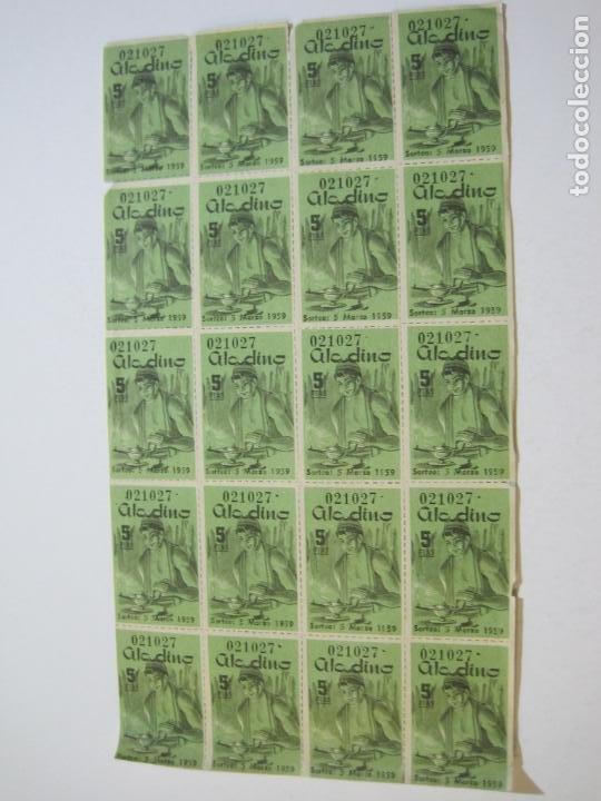 Lotería Nacional: ALADINO-HOJAS COMPLETAS DE CUPONES PARA SORTEO-1958 1959-50,25,10, 5 PTAS-VER FOTOS-(V-19.790) - Foto 15 - 202975101
