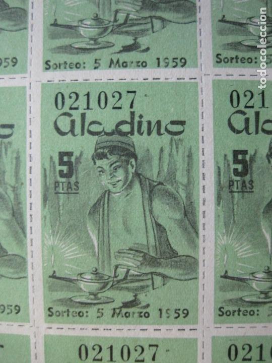 Lotería Nacional: ALADINO-HOJAS COMPLETAS DE CUPONES PARA SORTEO-1958 1959-50,25,10, 5 PTAS-VER FOTOS-(V-19.790) - Foto 16 - 202975101