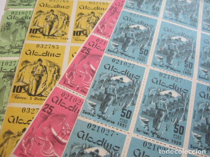 ALADINO-HOJAS COMPLETAS DE CUPONES PARA SORTEO-1958 1959-50,25,10, 5 PTAS-VER FOTOS-(V-19.790) (Coleccionismo - Lotería Nacional)