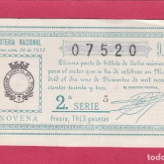 Loterie Nationale: LOTERIA NACIONAL SORTEO 34 DE 1933. Lote 203061347