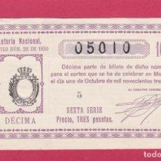Loterie Nationale: LOTERIA NACIONAL SORTEO 28 DE 1930. Lote 203061623