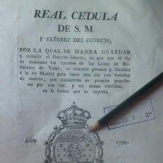 Lotería Nacional: REAL CEDULA DE S.M. SE CONCEDE PERMISO PARA HACER RIFAS, PRIMERAS LOTERIAS, 1.799. Lote 203398453