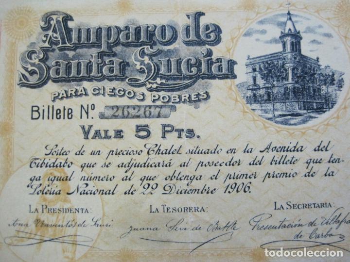 Lotería Nacional: BARCELONA-AMPARO DE SANTA LUCIA-SORTEO CHALET AVDA TIBIDABO-LOTERIA-AÑO 1906-VER FOTOS-(69.657) - Foto 2 - 203817373