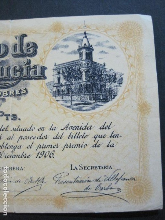 Lotería Nacional: BARCELONA-AMPARO DE SANTA LUCIA-SORTEO CHALET AVDA TIBIDABO-LOTERIA-AÑO 1906-VER FOTOS-(69.657) - Foto 4 - 203817373