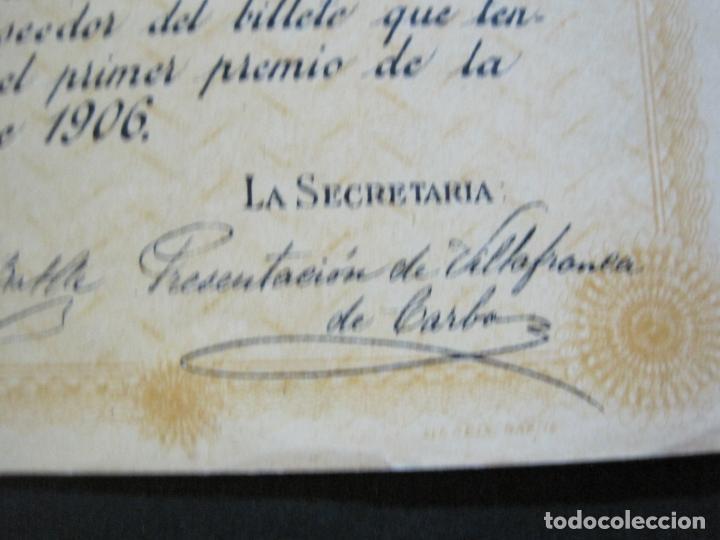 Lotería Nacional: BARCELONA-AMPARO DE SANTA LUCIA-SORTEO CHALET AVDA TIBIDABO-LOTERIA-AÑO 1906-VER FOTOS-(69.657) - Foto 7 - 203817373