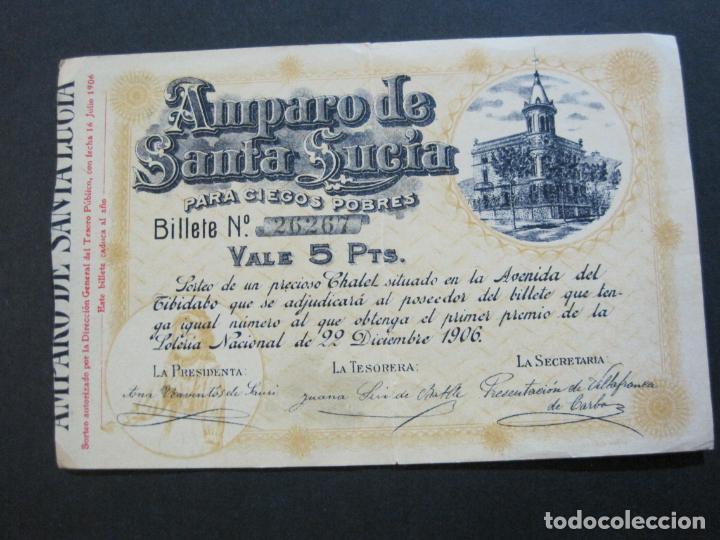 BARCELONA-AMPARO DE SANTA LUCIA-SORTEO CHALET AVDA TIBIDABO-LOTERIA-AÑO 1906-VER FOTOS-(69.657) (Coleccionismo - Lotería Nacional)