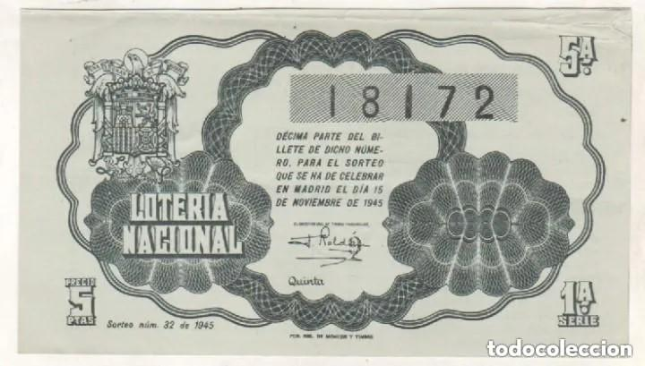 LOTERIA NACIONAL SORTEO 32 DE 1945 (Coleccionismo - Lotería Nacional)