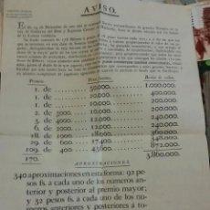 Lotería Nacional: DIRECCION GENERAL DE REALES LOTERIAS. AVISO DE PREMIOS SORTEO 24 DE DICIEMBRE 1818. LOTERIA MODERNA.. Lote 203834460