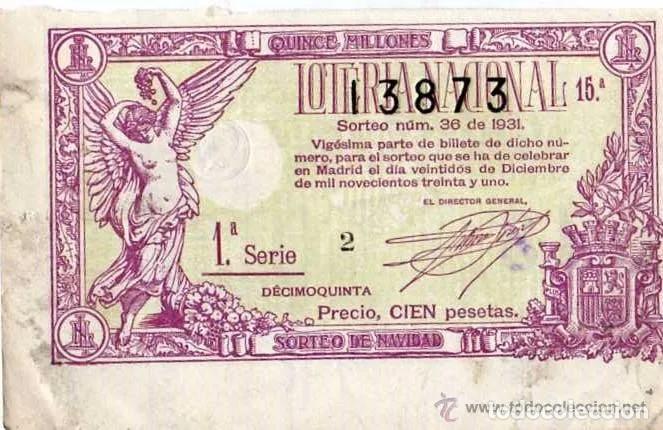 DECIMO DE LOTERIA SORTEO Nº 36 DE 1931 PRECIO CIEN PESETAS. MATASELLO DE LA ADMINISTRACION (Coleccionismo - Lotería Nacional)