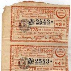 Lotería Nacional: DECIMO DE LOTERIA SORTEO Nº 36 DE 1931 PRECIO CIEN PESETAS. MATASELLO DE LA ADMINISTRACION. Lote 203836102