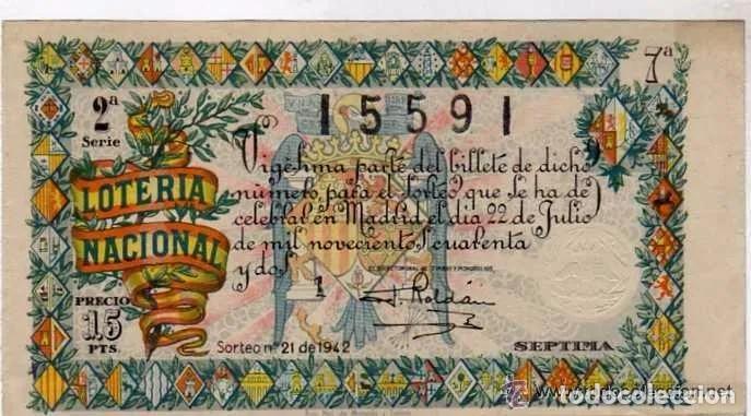 LOTERIA NACIONAL SORTEO 21 DE 1942 (Coleccionismo - Lotería Nacional)