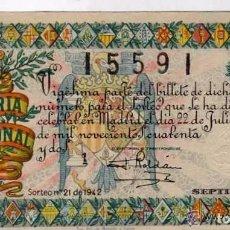 Lotería Nacional: LOTERIA NACIONAL SORTEO 21 DE 1942. Lote 203836177