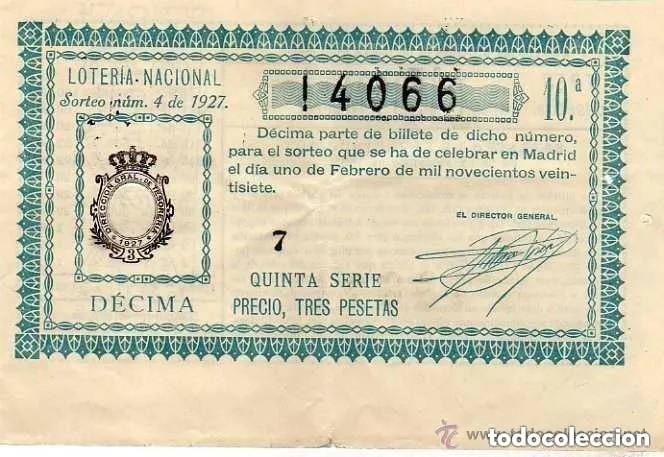 LOTERIA NACIONAL SORTEO 4 DE 1927 (Coleccionismo - Lotería Nacional)