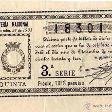 Lotería Nacional: LOTERIA NACIONAL SORTEO 34 DE 1933. ADMINISTRACIÓN DE HUESCA. Lote 203836468