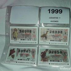 Lotería Nacional: LOTE 7 HOJAS CON 52 BOLETOS LOTERÍA NACIONAL JUEVES JUGUETES Y AVIONES AÑO 1999. Lote 204789901