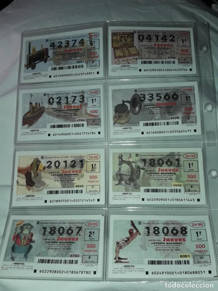 Lotería Nacional: Lote 7 hojas con 52 boletos Lotería Nacional Jueves Juguetes y aviones año 1999 - Foto 2 - 204789901