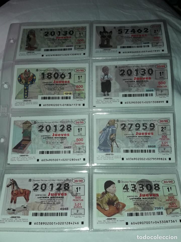 Lotería Nacional: Lote 7 hojas con 52 boletos Lotería Nacional Jueves Juguetes y aviones año 1999 - Foto 3 - 204789901