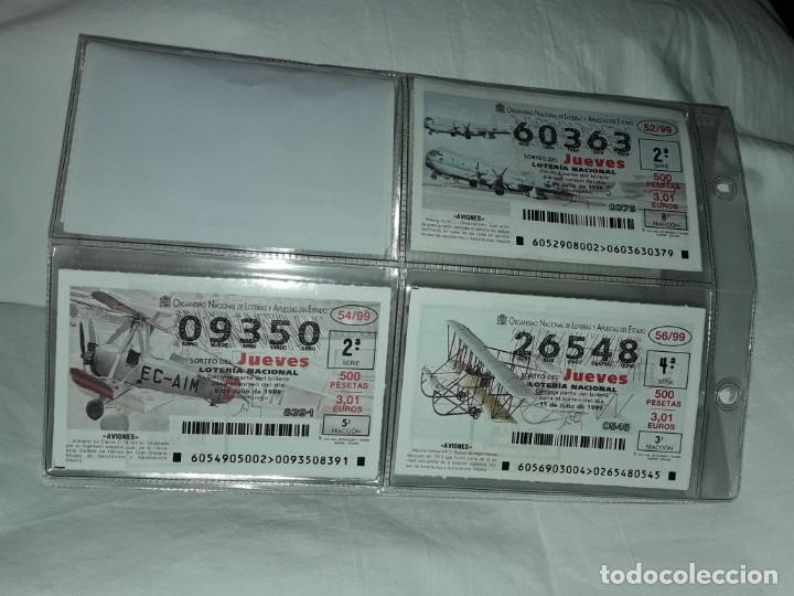 Lotería Nacional: Lote 7 hojas con 52 boletos Lotería Nacional Jueves Juguetes y aviones año 1999 - Foto 5 - 204789901