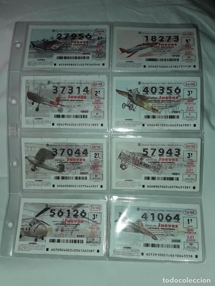 Lotería Nacional: Lote 7 hojas con 52 boletos Lotería Nacional Jueves Juguetes y aviones año 1999 - Foto 6 - 204789901