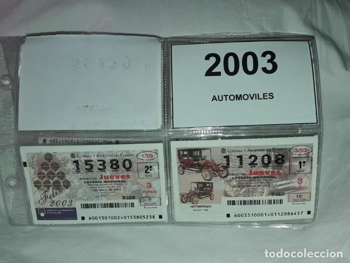 LOTE 7 HOJAS CON 52 BOLETOS LOTERÍA NACIONAL JUEVES AUTOMÓVILES Y PLUMAS AÑO 2003 (Coleccionismo - Lotería Nacional)