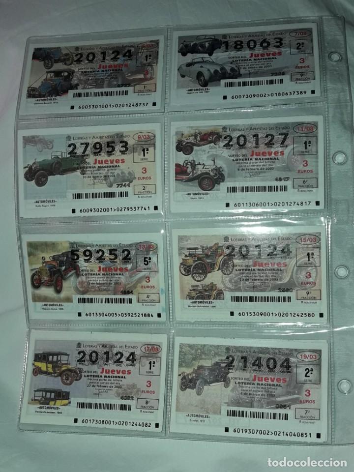 Lotería Nacional: Lote 7 hojas con 52 boletos Lotería Nacional Jueves Automóviles y Plumas año 2003 - Foto 2 - 204791893