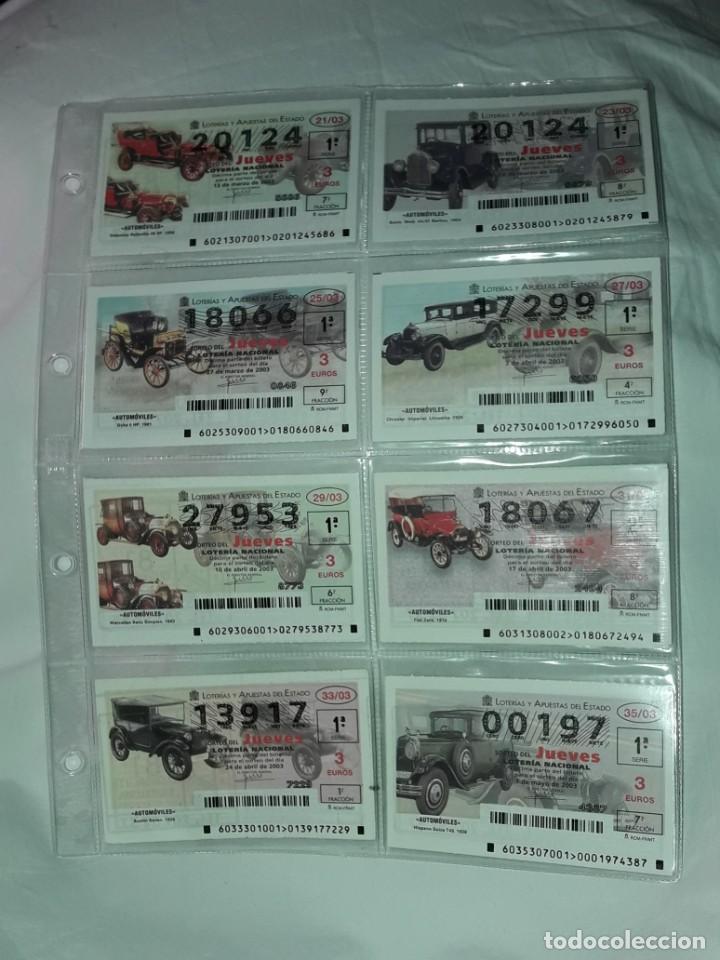 Lotería Nacional: Lote 7 hojas con 52 boletos Lotería Nacional Jueves Automóviles y Plumas año 2003 - Foto 3 - 204791893