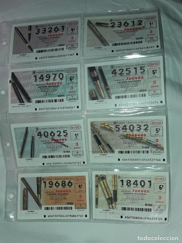Lotería Nacional: Lote 7 hojas con 52 boletos Lotería Nacional Jueves Automóviles y Plumas año 2003 - Foto 5 - 204791893