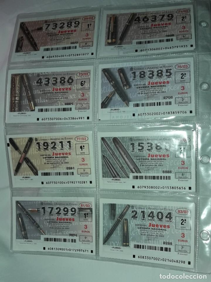 Lotería Nacional: Lote 7 hojas con 52 boletos Lotería Nacional Jueves Automóviles y Plumas año 2003 - Foto 6 - 204791893