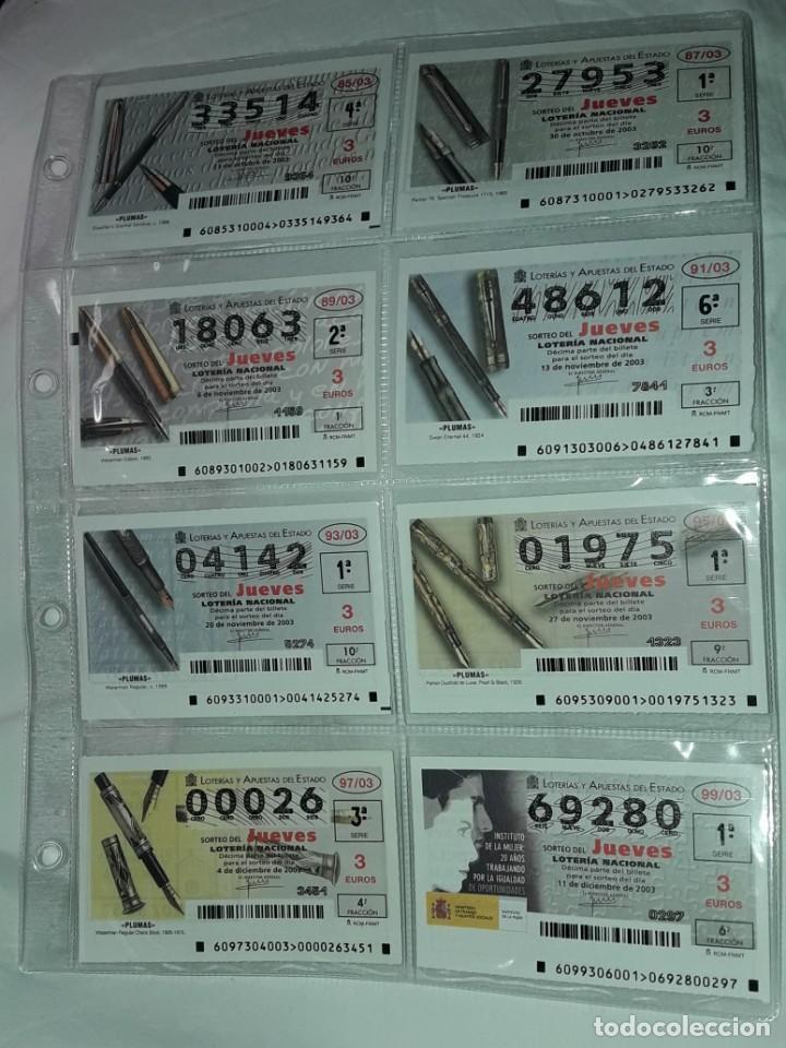 Lotería Nacional: Lote 7 hojas con 52 boletos Lotería Nacional Jueves Automóviles y Plumas año 2003 - Foto 7 - 204791893