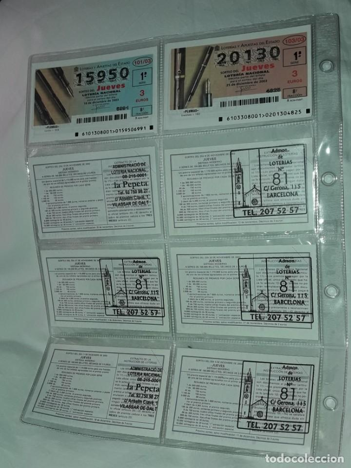 Lotería Nacional: Lote 7 hojas con 52 boletos Lotería Nacional Jueves Automóviles y Plumas año 2003 - Foto 8 - 204791893