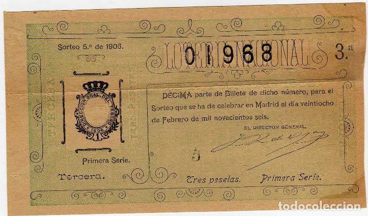 DECIMO LOTERIA NACIONAL - MADRID 28 DE FEBRERO DE 1906 - SORTE 5 (Coleccionismo - Lotería Nacional)