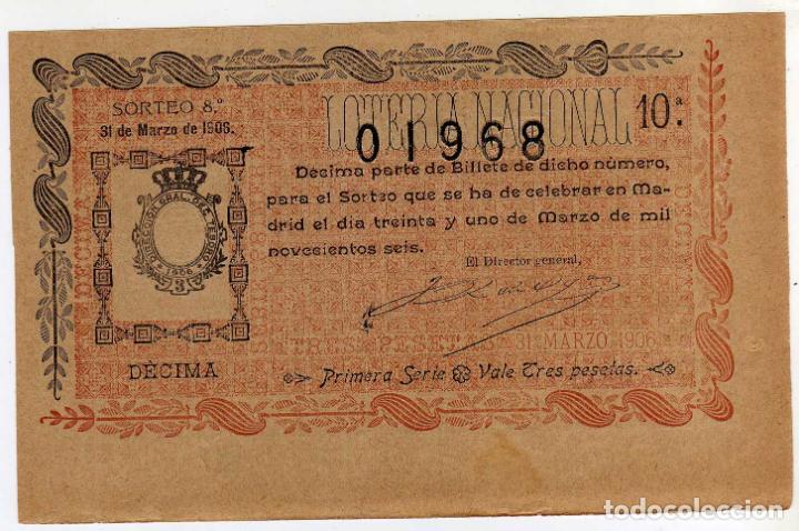 PRECIOSO DECIMO - LOTERIA NACIONAL - MADRID 31 DE MARZO DE 1906 - SORTEO 8 (Coleccionismo - Lotería Nacional)