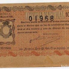 Lotería Nacional: PRECIOSO DECIMO - LOTERIA NACIONAL - MADRID 31 DE MARZO DE 1906 - SORTEO 8. Lote 205042537