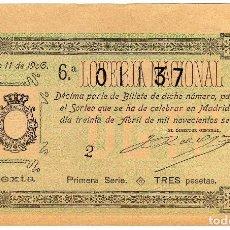Lotería Nacional: PRECIOSO DECIMO LOTERIA NACIONAL - MADRID 30 DE ABRIL DE 1906 - SORTEO 11. Lote 205043176