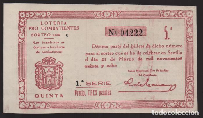 LOTERIA PATRIOTICA- PARTICIPACION- 21 MARZO 1938-SORTEO Nº 8- VER FOTOS (Coleccionismo - Lotería Nacional)