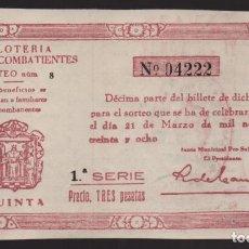 Lotería Nacional: LOTERIA PATRIOTICA- PARTICIPACION- 21 MARZO 1938-SORTEO Nº 8- VER FOTOS. Lote 205441951