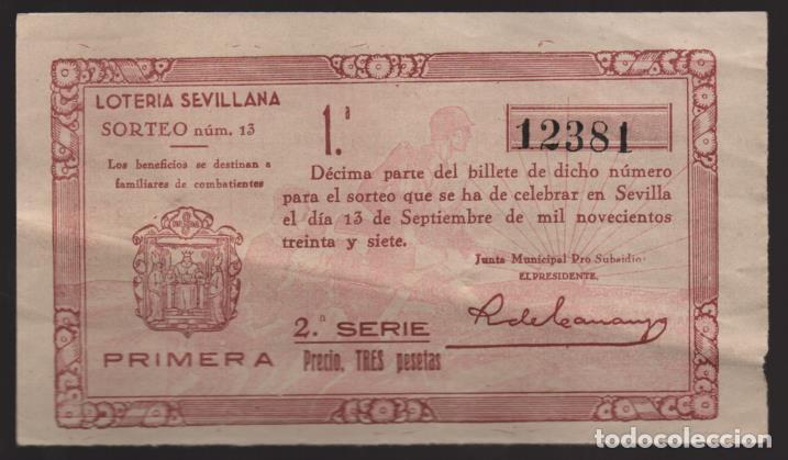 LOTERIA PATRIOTICA- PARTICIPACION- 13 SEPTIEMBRE 1937-SORTEO Nº 13- VER FOTOS (Coleccionismo - Lotería Nacional)
