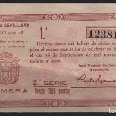 Lotería Nacional: LOTERIA PATRIOTICA- PARTICIPACION- 13 SEPTIEMBRE 1937-SORTEO Nº 13- VER FOTOS. Lote 205442426