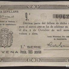 Lotería Nacional: LOTERIA PATRIOTICA- PARTICIPACION- 2 DE OCTUBRE 1937-SORTEO Nº 15- VER FOTOS. Lote 205442546