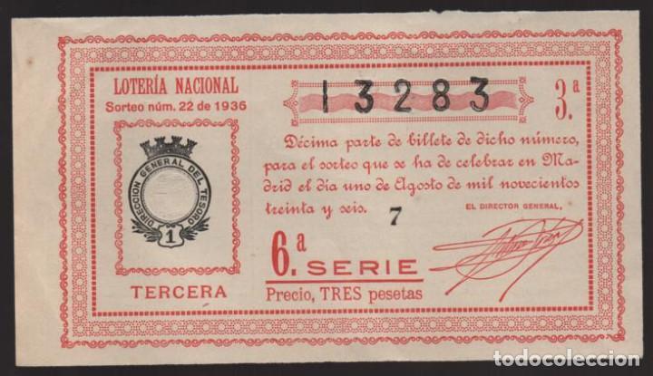 MADRID.- SORTEO Nº 22 DE 1936.- 1 DE AGOSTO DE 1936.- VER FOTOS (Coleccionismo - Lotería Nacional)