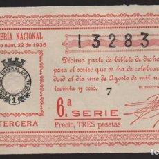 Lotería Nacional: MADRID.- SORTEO Nº 22 DE 1936.- 1 DE AGOSTO DE 1936.- VER FOTOS. Lote 205442676