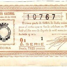 Lotería Nacional: DÉCIMO DE LOTERIA 10767 DEL SORTEO DE 1 DE AGOSTO DE 1936. Lote 205521201