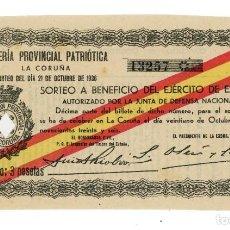 Lotería Nacional: DÉCIMO LOTERIA PATRIÓTICA LA CORUÑA 1936 GUERRA CIVIL. Lote 205551830
