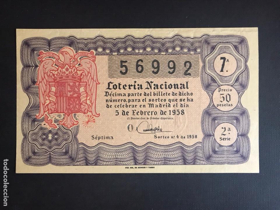 LOTERIA AÑO 1958 SORTEO 4 (Coleccionismo - Lotería Nacional)