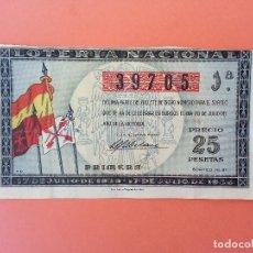 Lotería Nacional: LOTERIA DEL 20 DE JULIO DE 1939 SORTEO 21 NÚM 39705 AÑO DE LA VICTORIA. Lote 205873218