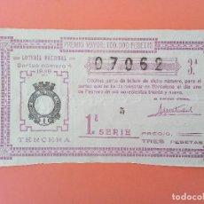Lotería Nacional: LOTERIA DEL 1 DE FEBRERO DE 1939 SORTEO 4 DE BARCELONA NÚM 07062. Lote 205873293